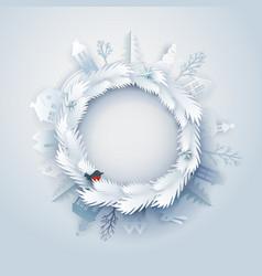 Paper art around wreath vector