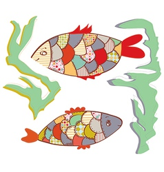Patchwork fishes funny design vector image