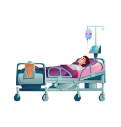 Patient in hospital bed under drip dropper isolate vector
