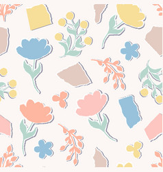 Pattern with paper flowers vector