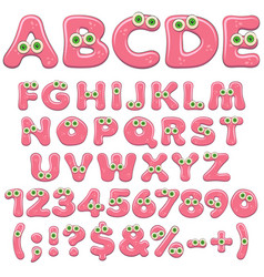 pink jelly alphabet letters numbers with eyes vector image