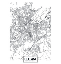 Poster detailed city map belfast vector