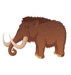 Prehistoric mammoth with long tusks vector