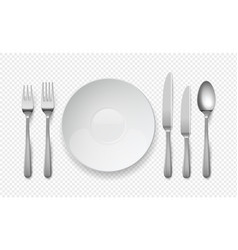realistic food plate with spoon knife and fork vector image