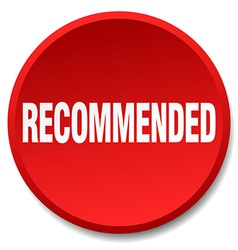 Recommended red round flat isolated push button vector