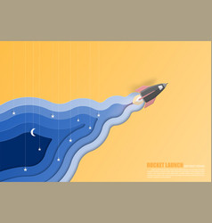 Rocket launch with smoke paper art layer style vector