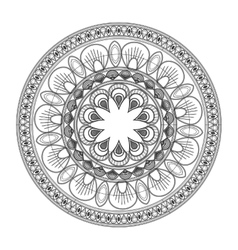 Round decorative line mandala icon vector
