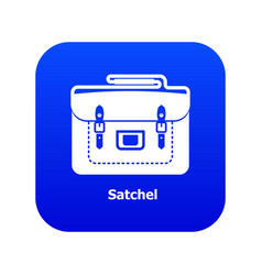 Satchel bag icon blue vector