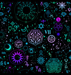 Seamless magical bright alchemical and cosmic vector