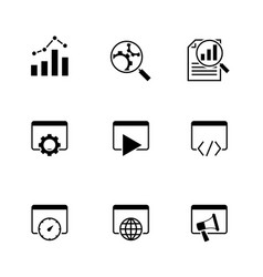 search engine optimization black icons on white vector image