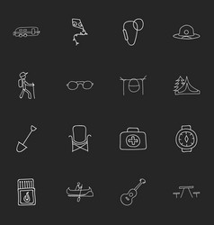Set of 16 editable camping icons includes symbols vector