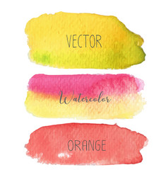 set of colorful brush strokes watercolor vector image