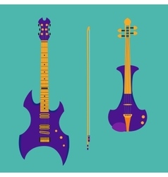 Set of string instruments Purple electric violin vector image vector image