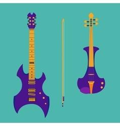 set string instruments purple electric violin vector image
