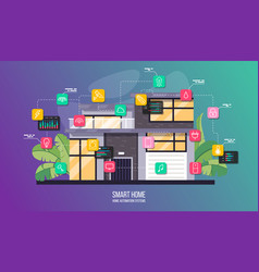Smart house system automation infographic modern vector