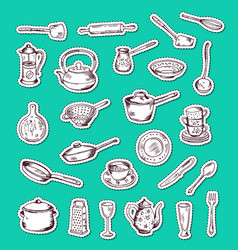 Stickers set with hand drawn kitchen vector
