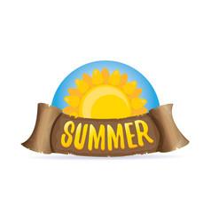 Summer label with orange sun vector