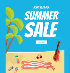 summer sale landing page template with tropical vector image