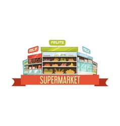 Supermarket display stand retro composition poster vector