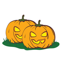 the scary yellow eyes twin pumpkins or color vector image