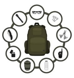 Traveler backpack contents vector
