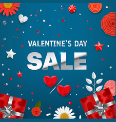 valentines day sale inscription silver text on vector image