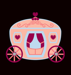 Vintage horse carriage with florid ornament and vector