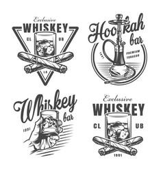 Vintage monochrome whiskey bar emblems vector