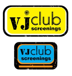 vj club screenings stamp vector image