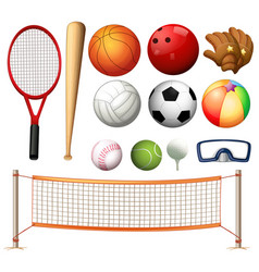 Volleyball net and different types balls vector