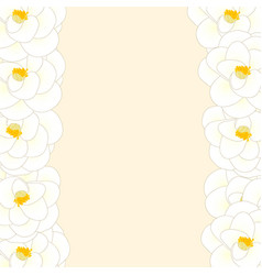 White camellia flower border isolated on beige vector