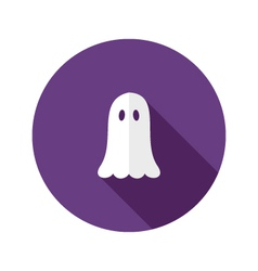 White Ghost Flat Icon over Purple vector