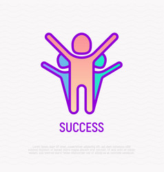 winner with raised hands among rivals vector image