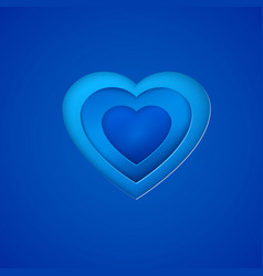 blue paper heart on deep blue background vector image vector image