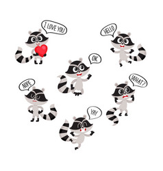 cute raccoon character showing different emotions vector image vector image