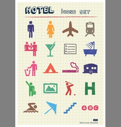 Hotel and service web icons set vector