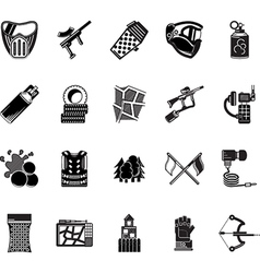 Paintball black icons collection vector image vector image