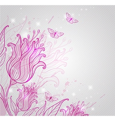 pink tulips and butterflies vector image vector image