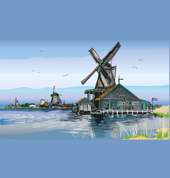 colored of watermill in amsterdam vector image vector image