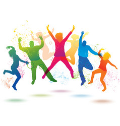 Colorful background with dancing people vector image