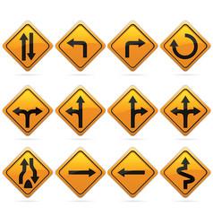 glossy diamond road arrow sign vector image vector image