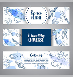 huge space slogan horizontal banner hand drawn vector image