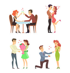 lovely couples funny characters romantic male and vector image vector image