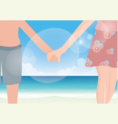 happy couple holding hands on sea background vector image