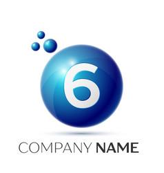Number six splash logo blue dots and bubbles vector