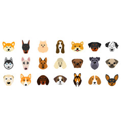 set heads of dogs collection different breeds of vector image