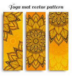 set of sunny yoga mat pattern vector image vector image