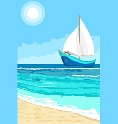 summer landscape with sailboat background vector image