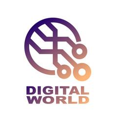 world tech logo design template abstract digital vector image