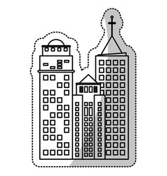 Building facade construction cut line vector